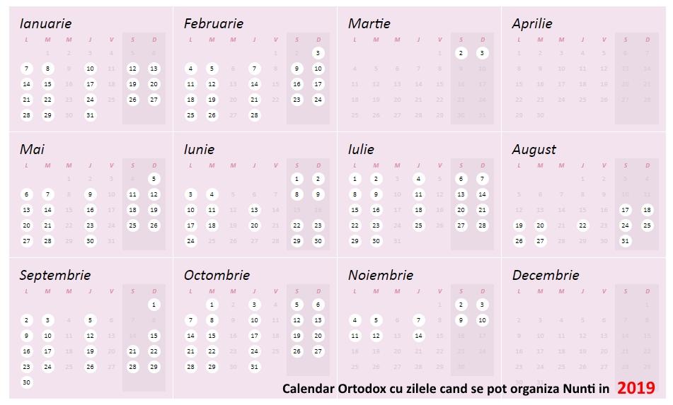 Calendar Ortodox Nunti 2019
