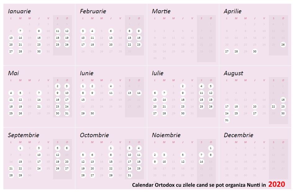 Calendar Ortodox Nunti 2020